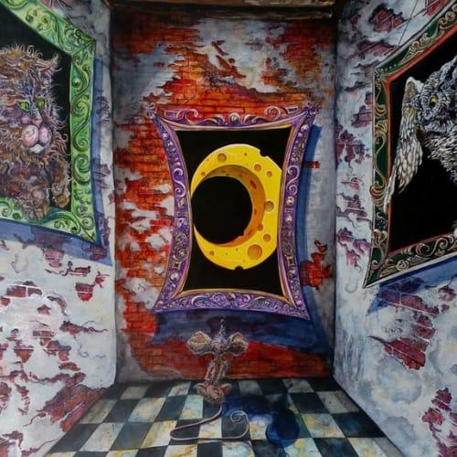 dreams nightmares cheese moon red door cat owl paintings