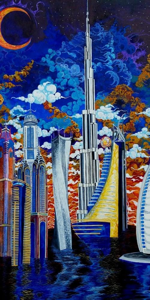 dubai under water city clouds buildings landscape