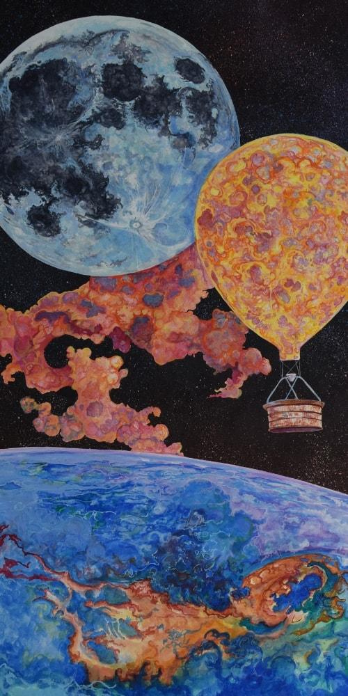 earth moon hot air balloon space flames basket
