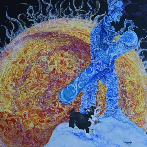 frozen man walking sun burning background space