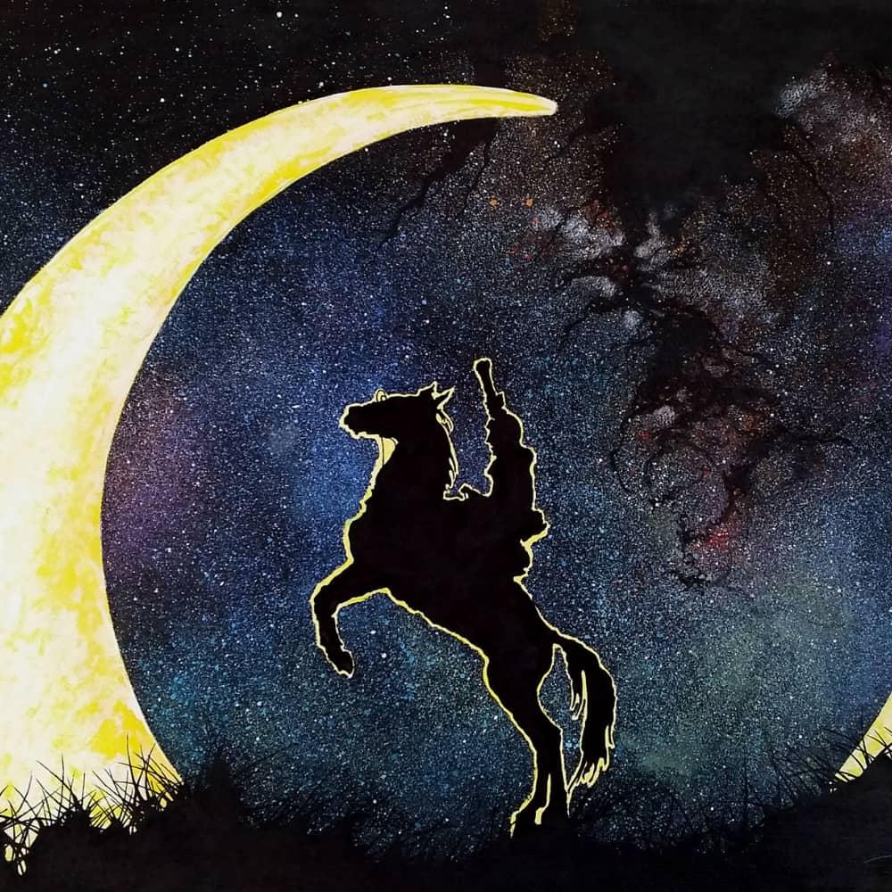 horseman half moon galaxy stars
