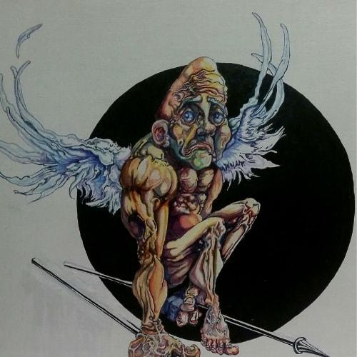 love cupid spears wings black circle