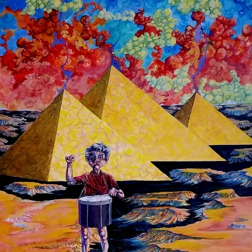 pyramid child drum red clouds