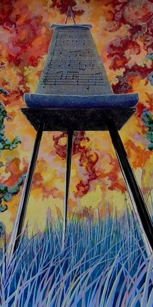 scroll table legs blue grass red sky