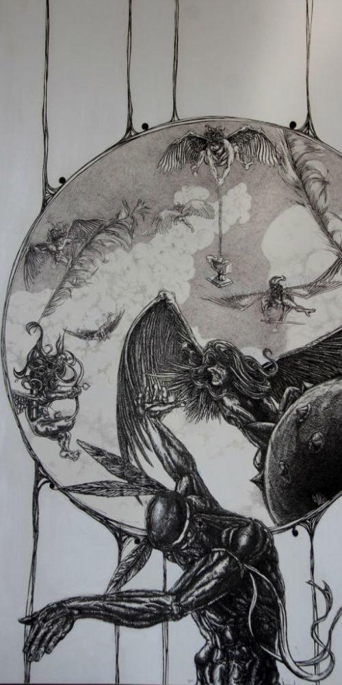 the cherub war greyscale iron faethers wings