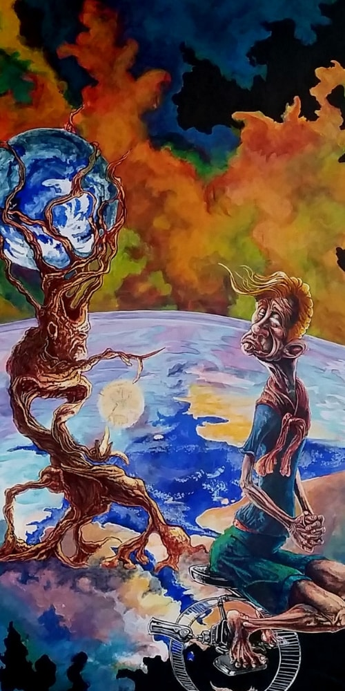 tree of knowledge man sitting earth clouds