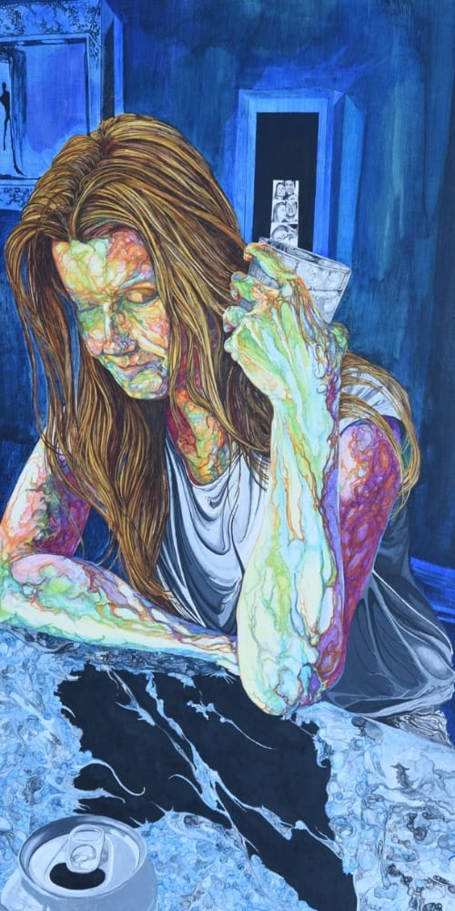 woman_drinking_sorrow_misery_blue_mirror